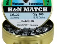 Beeman H&N Match .22 Cal, 13.73 Grains, Wadcutter, 200ct