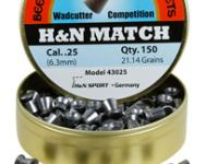 Beeman H&N Match .25 Cal, 21.14 Grains, Wadcutter, 150ct
