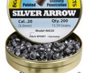 Beeman Silver Arrow .20 Cal, 15.59 Grains, Pointed, 200ct