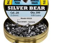 Beeman Silver Bear .20 Cal, 9.88 Grains, Hollowpoint, 200ct