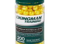 KingMan Kingman Training 11mm Premium Paintballs, 200 rds, yellow