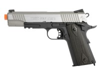 Colt Government 1911 Airsoft GBB Pistol, Silver Slide/Black
