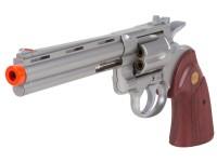 TSD Zombie Killer Spring Revolver 6 inch Barrel, Silver/Rosewood Airsoft gun