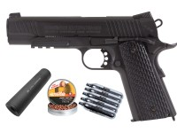 Swiss Arms SA 1911 Tactical CO2 BB Pistol with Faux Silencer