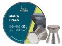 H&N Match Green Pellets, .177 Cal, 5.25 Grains, Wadcutter, Lead-Free, 500ct