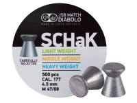 JSB Schak .177, Middle Weight, 8.02 Grains, Wadcutter, 500 ct