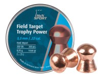 H&N Field Target Trophy Power Copper Plated, .22 Cal, 14.66 Grains, Round Nose, 200ct