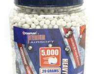 Crosman 6mm plastic airsoft BBs, 0.20g, 5000 rds, white