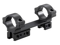 BKL 1-Pc Mount, 4 inch Long, 1 inch Rings, 3/8 inch or 11mm Dovetail, For Bolt-Action Guns, Matte Black