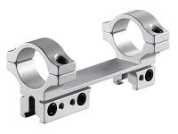 BKL 1-Pc Mount, 4 inch Long, 1 inch Rings, 3/8 inch or 11mm Dovetail, For Bolt-Action Guns, Silver