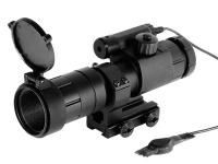 Evanix 4x32 Hellfire Rifle Scope & Laser, Circle Duplex Reticle w/Mil-Dots, 1/4 MOA, 11mm Mount