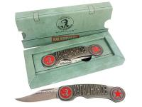 Cybergun Kalashnikov Pocketknife, Silver Patina Handle, Red Logo & Star, Non-Serrated Blade
