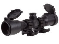 "UTG 4x32 CQB Compact Rifle Scope, EZ-TAP, Illuminated Mil-Dot Reticle, 1/4 MOA, 1"" Tube, See-Thru Weaver Rings"