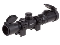 Leapers UTG 1-8x28 Multi-Range Combat Rifle Scope, EZ-TAP, Illuminated Circle-Dot Reticle, 1/2 MOA, 30mm Tube, See-Thru Weaver Rings