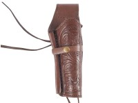 "Hand-Tooled Leather Holster, 6"", Chocolate, Right Hand"