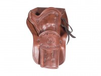 Western Justice Hand-Tooled Leather Holster, 6 inch, Mahogany, Right Hand