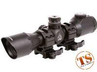 Refurbished UTG 4x32 CQB Compact Rifle Scope, EZ-TAP, Illuminated Mil-Dot Reticle, 1/4 MOA, 1 inch Tube, See-Thru Weaver Rings