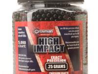 Crosman 6mm plastic airsoft BBs, 0.25g, 5,000 rds, Black