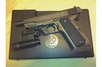 Tanfoglio 1911A1 with Upgrades - Black rubber grips, under barrel with laser and flash light