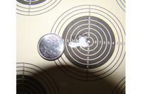 coin is smaller than a dime - 5 shot group at 30 yds.