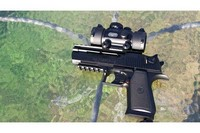 Baby  Desert Eagle - Stacks bbs with this scope and a weaver style two handed hold at 10 meters and beyond