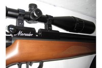 """BKL 2pc High mount 1"""" rings - Leapers 4-16x50AO on my .25 M-rod.  Check out the BKL 1pc bolt-action mount to see a picture mounted on my .22 M-rod."""