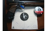 Crosman 1377c - Crosman 1377c: 10yds, 25 shots, standing one hand, 4 pumps.