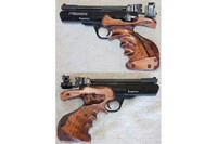 Webley-Scott Tempest with custom left hand grips and Mendoza rear sight. - Webley-Scott Tempest, custom home-made maple left hand grips, Mendoza rear sight. The sight is mounted on 11 mm rail made from a piece of steel angle.