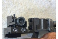 Mendoza micrometer sight mounted on Webley-Scott Tempest air pistol. - Mendoza micrometer sight mounted on Webley-Scott Tempest air pistol. Sight is mounted on custom 11 mm rail made from a piece of steel angle.