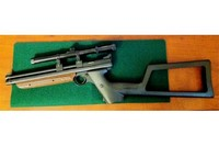"""Accesories for 1377 - Crosman 1399 custom shoulder stock + Crosman 459MT 2-Pc Intermount, 3/8"""" Dovetail on 1377 American Classic pistol. (I used a scope I already had.) Makes a cool little carbine."""
