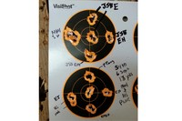 Pellet testing with S410 Xtra FAC 13yds - Shot 8 different pellets of varying weights.  Each group is 4 shots, 2 at mid power 2 at hi power. 13 yds.