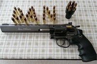 An air revolver gun that you should own! - This is my first Air revolver gun and I love it a lot. Thought it is head heavy, but anything else are excellent. The feeling of the body, the action of the revolver magazine, the ammunition casing and design...etc..  The most important, it shoots BBs in high speed right out of box because it has real 8~10 inches long inner barrel, unlike the pirate version which you can buy from Walmart.  I love it and I strongly recommend people to buy this Dan Wesson if you want a well designed revolver and realistic looking and function.