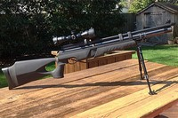 All tricked out - The scope is a UTG 3-9x32 AO Compact CQB.  I need some rail mounts that are high enough to raise the scope to clear the magazine when I move the scope back.  The bipod is a UTG TL-BP28XS Universal  Shooter's Bipod attached to the Swivel Stud Kit (supplied with the bipod), hose clamped very lightly to the air cylinder.