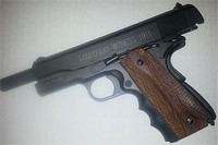 tanfoglio witness wood grips and rubber finger inserts - 1911 slide open