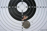 5 Shot Group - 15 yards with RWS 14.5 grain Superdome pellets.  Group size is .44 inches.