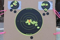 Backyard Plinking - Zeroing a new scope at 20 yards. First shots were low and to the right of the target using Crosman Premier Super Match Pellets - my favorites.