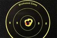 """Very accurate for the price! - 5-shot group from 30 feet. The farthest away center-to-center measurement is 0.26""""."""