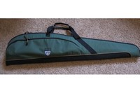 Plano green air rifle case - zipped up with gun inside.