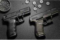 30 feet - two CO2 pellet pistols from Umarex.