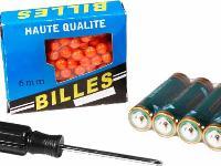 screwdriver, package of BBs, batteries