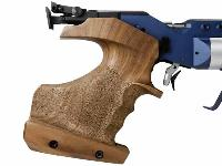 Stippled grip with finger grooves is ideally shaped for 10-meter shooting.