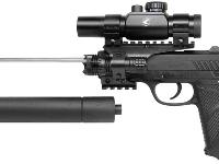 With the fake suppressor removed, the barrel underneath is exposed. Total barrel length is 12 inches. The exposed barrel shown above is 7 inches. You can shoot the gun with or without the fake suppressor attached.