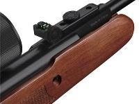 Fiber optic rear sight is adjustable for windage and elevation.