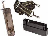 spring-powered deluxe speed loader, tactical sniper rifle sling, spare magazine