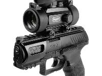 Shown with optional equipment: Weaver rail & dot sight.