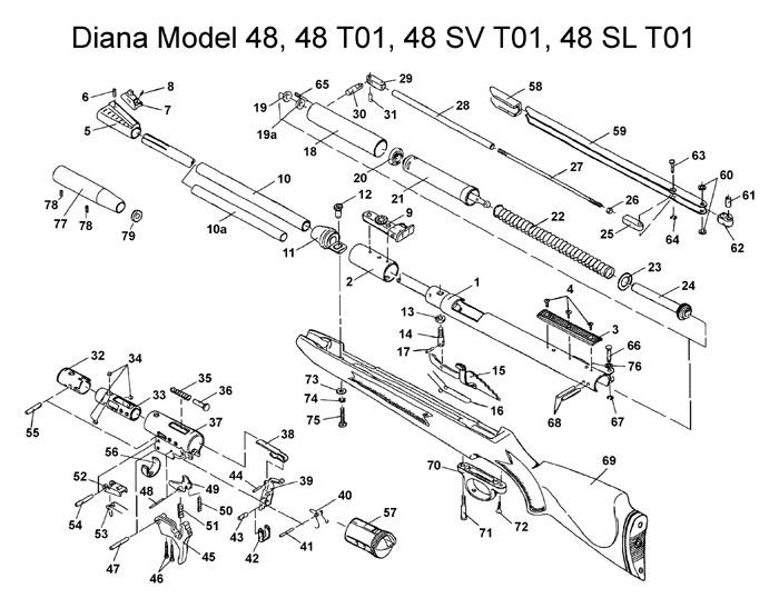 rws model 48 air rifle schematic at airgun express