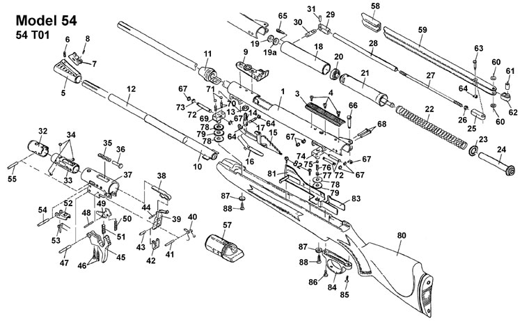 RWS Model 54 Air Rifle Schematic at Airgun Express
